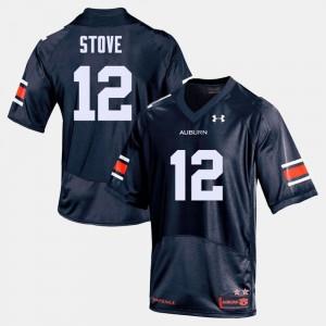 #12 Eli Stove Auburn Jersey Navy For Men's College Football 511188-148