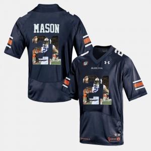 Navy Blue Player Pictorial For Men's #21 Tre Mason Auburn Jersey 476762-276
