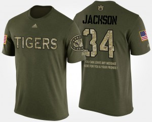Camo For Men Bo Jackson Auburn T-Shirt Short Sleeve With Message Military #34 948305-674