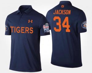 #34 Bo Jackson Auburn Polo For Men's Peach Bowl Bowl Game Navy 717218-993