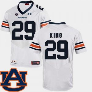 SEC Patch Replica Men College Football Brandon King Auburn Jersey #29 White 150796-709