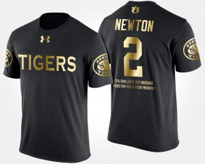 Mens Cam Newton Auburn T-Shirt Short Sleeve With Message Gold Limited Black #2 694465-139