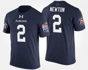 Bowl Game #2 Cam Newton Auburn T-Shirt Peach Bowl For Men Navy 933293-177
