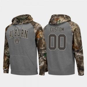 Auburn Customized Hoodie Charcoal Colosseum Raglan #00 Realtree Camo Mens 566006-125