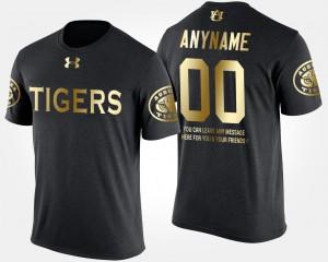 Men Short Sleeve With Message Gold Limited Auburn Custom T-Shirt #00 Black 614386-777