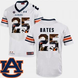 #25 White Pictorial Fashion Football Men Daren Bates Auburn Jersey 304026-869