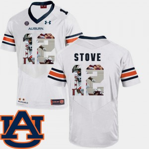 Pictorial Fashion Men's White Eli Stove Auburn Jersey #12 Football 694370-282
