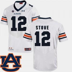 For Men College Football White Eli Stove Auburn Jersey SEC Patch Replica #12 642506-370