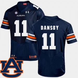 #11 Men College Football Navy Karlos Dansby Auburn Jersey SEC Patch Replica 658989-878