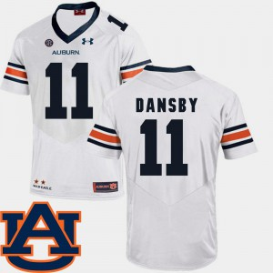 Mens White College Football #11 Karlos Dansby Auburn Jersey SEC Patch Replica 842208-453