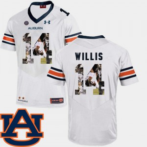 White Malik Willis Auburn Jersey For Men's #14 Football Pictorial Fashion 856655-930