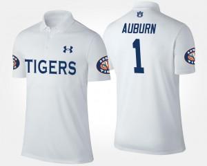 Auburn Polo #1 No.1 Short Sleeve Mens White 989938-951