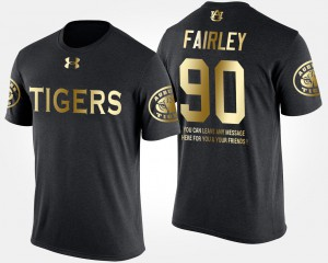 Black Nick Fairley Auburn T-Shirt #90 Gold Limited Men Short Sleeve With Message 989766-742