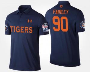 Bowl Game Peach Bowl Navy For Men's #90 Nick Fairley Auburn Polo 625598-915