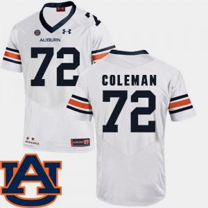 White Men's College Football #72 Shon Coleman Auburn Jersey SEC Patch Replica 546859-647