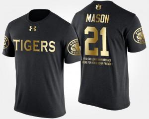 Men Black Gold Limited #21 Tre Mason Auburn T-Shirt Short Sleeve With Message 985731-776