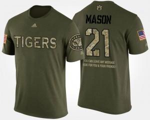 #21 Short Sleeve With Message Military For Men Camo Tre Mason Auburn T-Shirt 557922-807