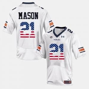 For Men's White US Flag Fashion #21 Tre Mason Auburn Jersey 616328-515