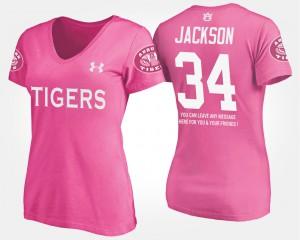 Pink With Message #34 Bo Jackson Auburn T-Shirt Women 956868-453