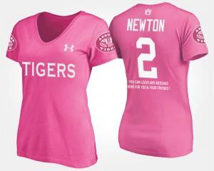 With Message #2 Cam Newton Auburn T-Shirt Womens Pink 737026-545