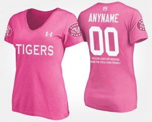 Auburn Customized T-Shirt #00 Pink Women's With Message 983742-757