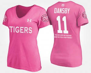 Women Pink Karlos Dansby Auburn T-Shirt #11 With Message 199254-993