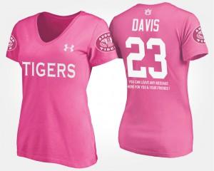 Ryan Davis Auburn T-Shirt Pink Women #23 With Message 468887-529
