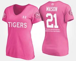 Pink With Message For Women Tre Mason Auburn T-Shirt #21 700480-360